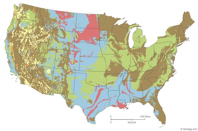 Map of United States displaying expansive soils